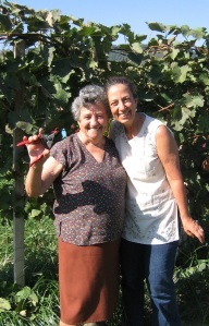 Signora Giuseppa and the author during the grape harvest in 2010.