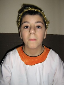 George from Syria as a Christmas angel.