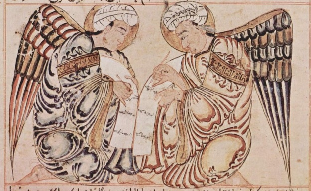 Two Islamic angels write in the Book of Life, suggesting angels' ongoing and attentive interest in human affairs (1280 A.D., Iraq)