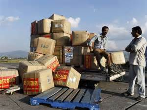 Nepal aid piled up.