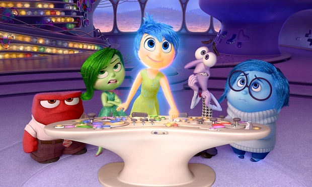 Inside Riley's Headquarters. From right to left: Anger, Disgust, Joy, Fear, Sadness. Photo by Pixar.