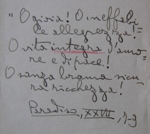 Assagioli's notes on Paradise.