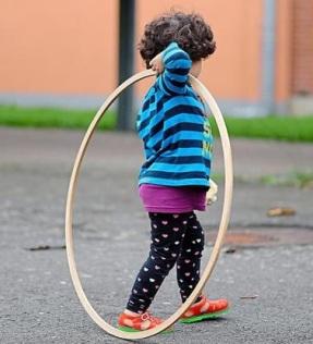 A refugee child seeking asylum in Gronau.