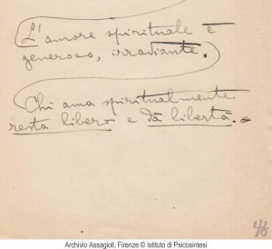 Assagilio's notes on Spiritual Love